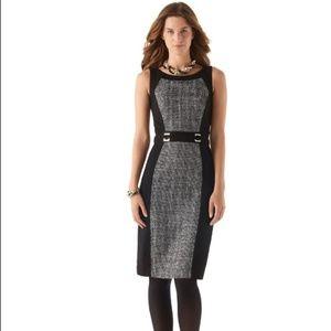WHBM Tweed-Paneled Ponte Sheath Dress #330